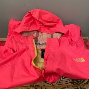 Neon Pink north face hooded rain jacket